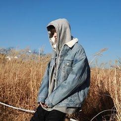MPstudios - Fleece-Lined Buttoned Denim Jacket