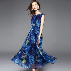 Y:Q - Printed Long Tank Dress with Sash