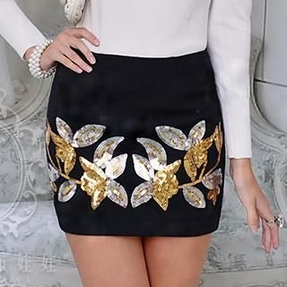 Dabuwawa - Wool-Blend Sequined Pencil Miniskirt