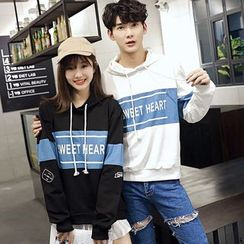 Azure - Couple Matching Letter Cover-up Hoodie