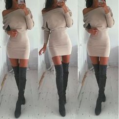 HOTCAKE - Plain Long Sleeve Mini Dress