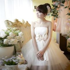 名貴風格 - 無帶蝴蝶結晚裝裙