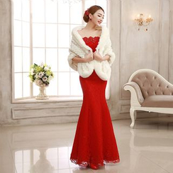 MSSBridal - Set: Off-Shoulder Mermaid Evening Gown + Cape / With Train
