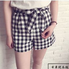 Pluvio - Gingham Bow Accent Shorts