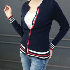 DANI LOVE - Crew-Neck Stripe-Trim Cardigan
