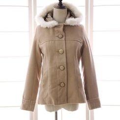 Reine - 毛毛邊連帽呢子大衣