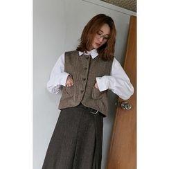 Someday, if - Dual-Pocket Wool Blend Herringbone Vest