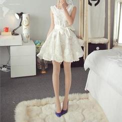 Fashion Street - Sleeveless Floral Organza Dress