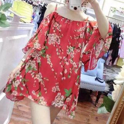 Shimi - Elbow-Sleeve Strappy Floral Chiffon Dress