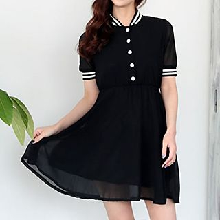 Champi - Contrast Trim Short-Sleeve Dress