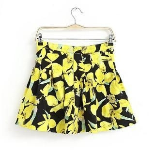 JVL - Flower-Print Pleated Skirt