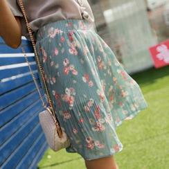HazyDazy - Floral Print Pleated Hem Mini Skirt