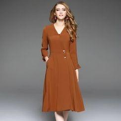 Ozipan - V-Neck A-Line Coat