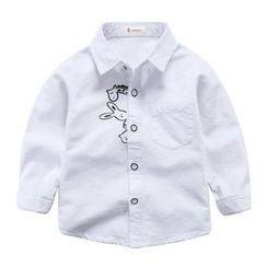 DEARIE - 兒童動物印花長袖襯衫