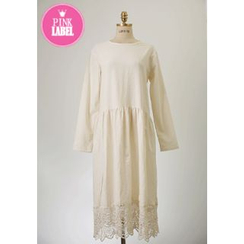 Lemite - Lace-Hem Empire Dress