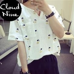 Cloud Nine - Oversized Short Sleeved V-neck Print T-shirt