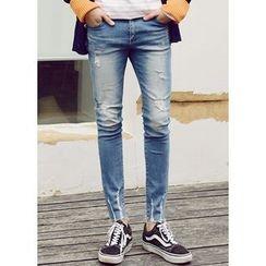 JOGUNSHOP - Distressed Washed Slim-Fit Jeans