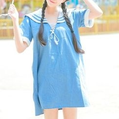 Moricode - Short-Sleeve Sailor Collared A-line Dress