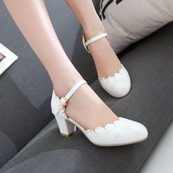 Pretty in Boots - Faux Pearl Strapped Pumps