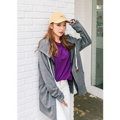 J-ANN - Cotton Blend Drawstring Hoodie