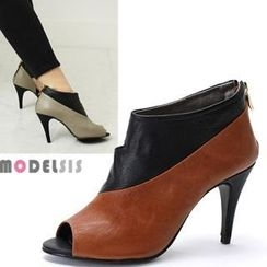 MODELSIS - Genuine Leather Color-Block Open-Toe Ankle Boots