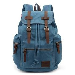 AUGUR - Flap Drawstring Canvas Backpack