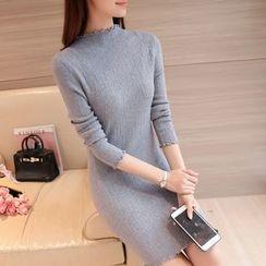 Cotton Candy - Long-Sleeve High Neck Knit Dress