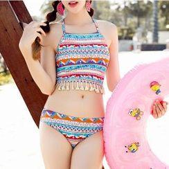 Sirene - 吊苏印花坦基尼泳衣