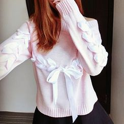 Cotton Candy - Lace-Up Sweater