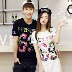 Azure - Couple Matching Number Print T-Shirt / T-Shirt Dress