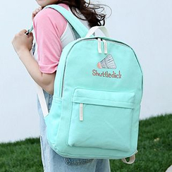 Sweet City - Set : Badminton  Printed Canvas Backpack + Shoulder Bag + Zip Pouch + Drawstring Pouch