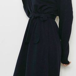 chuu - Turtle-Neck Wool Blend Long Knit Dress with Sash