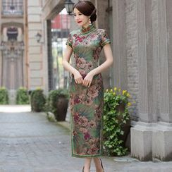 Miss Four Qipao - Floral Print Side Split Short Sleeve Maxi Qipao