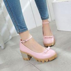 Pastel Pairs - Ankle Strap Block Heel Pumps