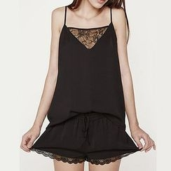 Rooftop Sonata - Lace Trim Camisole Top / Lace Trim Shorts