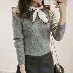 Little V - Bow Accent Long Sleeve Knit Top