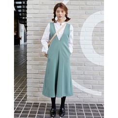 FROMBEGINNING - V-Neck Long Pinafore Dress