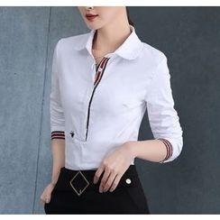 Brightful - Stripe Trim Half-Placket Long-Sleeve Shirt