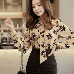 CHICLINE - Ribbon-Trim Floral Blouse