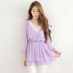 Tokyo Fashion - 3/4-Sleeve Lace-Bib Chiffon Top