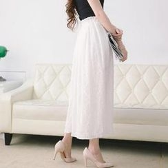 Tokyo Fashion - Elastic-Waist Lace Maxi Skirt
