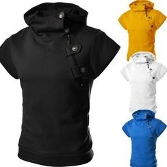 Hansel - Short-Sleeve Stand-collar Top