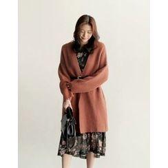 UPTOWNHOLIC - Open-Front Wool Blend Cardigan