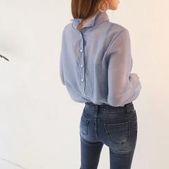 DABAGIRL - Mock-Neck Button-Back Sheer Blouse