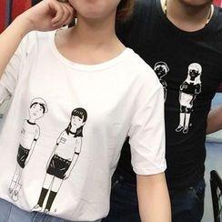 Cerauno - Cartoon Print Short-Sleeve T-Shirt
