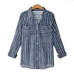 VIZZI - 長袖條紋襯衫