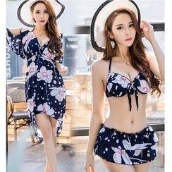 Jumei - 套装: 碎花比基尼泳衣 + 露肩沙滩罩衫连衣裙