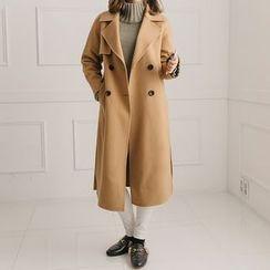 Seoul Fashion - Stitch-Detail Single-Breasted Coat