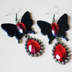 Fit-to-Kill - Leather Butterfly Crystal Earrings