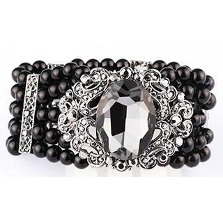 Linglady - Multi-Strand Rhinestone Elastic Bracelet